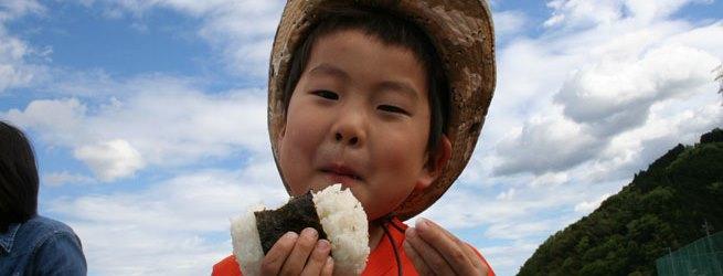 里山のようちえん9月 日本人のルーツ 稲狩りと新米ごはん